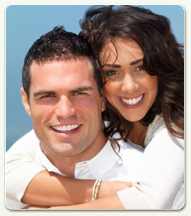 smiling couple white shirts